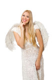 Woman with angel wings isolated Stock Images