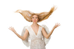 Woman with angel wings isolated Royalty Free Stock Image