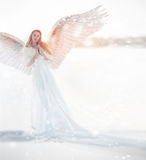 Woman angel with wings in the winter. Snow angel standing in the snow, the Keeper of winter, a fabulous image. Woman angel with wings in the winter. Snow angel stock image