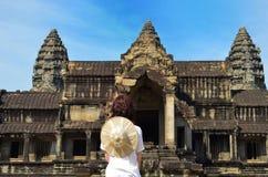 Woman at Angkor Wat temple complex, Siem Reap, Cambodia Royalty Free Stock Photos