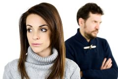 Woman angry with boyfriend not talking Stock Photography