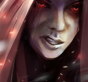 Woman angry face in hood illustration. Illustration of a fantasy woman angry face in hood with glowing eyes and fire ashes flying Royalty Free Stock Images
