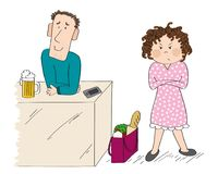 Woman angry with her husband - original hand drawn illustration royalty free illustration