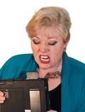Woman angry with laptop Stock Photo