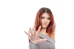 Woman with angry mood showing stop, reject, refuse, forbid, negative hand sign stock photography
