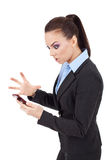 Woman angry on phone Royalty Free Stock Photo