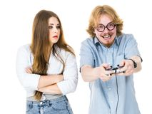 Woman is angry at playing man royalty free stock photography