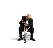 Woman and angry screaming businessman Stock Images