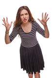 Woman angry waving her hands isolated white Stock Photography