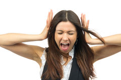 Woman angry yelling frustrated screaming out loud Stock Photo