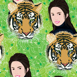 Woman animal green seamless pattern Stock Images