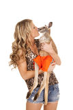 Woman animal print shirt kiss kangaroo Stock Image