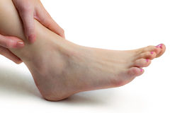 Woman with ankle injury Royalty Free Stock Photos