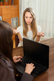 Woman answer questions of social worker Stock Photography