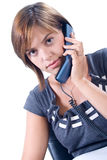 Woman answers the phone Stock Image