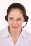 Woman answers the phone. Royalty Free Stock Photos