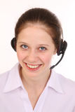 Woman answers the phone. Royalty Free Stock Photo