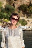 Woman at Antalya harbor Royalty Free Stock Photos