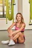 Woman in Antigravity yoga studio Stock Photos