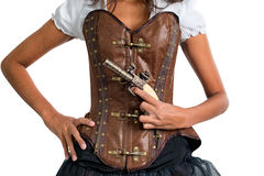 Woman with Antique Gun Wearing Leather Corset Stock Photo