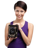 Woman with antique photographic camera royalty free stock images