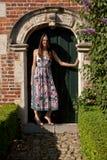 Woman antique wall door, Groot Begijnhof, Leuven, Belgium royalty free stock images