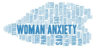 Woman Anxiety word cloud. Wordcloud made with text only royalty free illustration