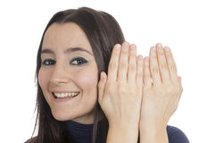 Woman appear behind her hands Royalty Free Stock Photos