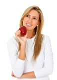 Woman with an apple Stock Photo