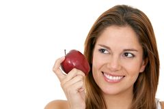 Woman with an apple Stock Image