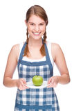 Woman with apple royalty free stock photos