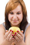 Woman and apple Royalty Free Stock Image