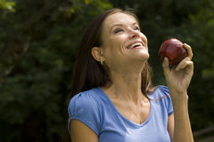 Healthy Woman Smiling Holds Red Apple Fruit Food Stock Images