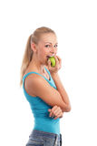 Woman and an apple Stock Photo