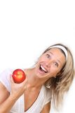 Woman and apple Royalty Free Stock Photos