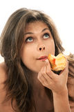 Woman with an apple Stock Photos