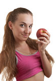 Woman with apple. Isolated on white Royalty Free Stock Photo