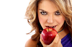 Woman with an apple Royalty Free Stock Photos