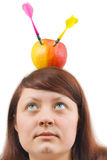 Woman and apple with arrows Royalty Free Stock Photography