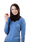 Woman with apple. Beatiful young woman holding apple, isolated on white Stock Images