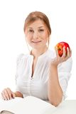 Woman with apple and book Royalty Free Stock Photo