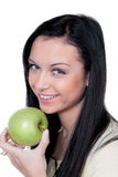 Woman with apple, fruit and vitamins in diet Stock Photo