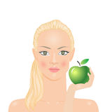 Woman with apple. Woman with green apple in hand Royalty Free Stock Photo