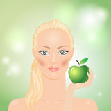 Woman with apple. Woman with green apple in hand Stock Photos