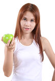 Woman and apple Stock Photo