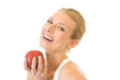Woman with apple, isolated Stock Images