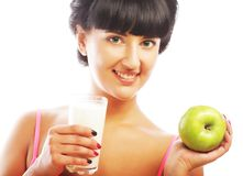Woman with apple and milk Royalty Free Stock Photo