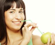 Woman with apple and Straws Cocktail Royalty Free Stock Photo