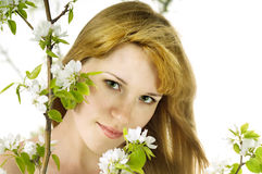 The woman and an apple-tree Stock Photos