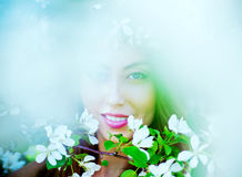 Woman with apple tree Royalty Free Stock Photography